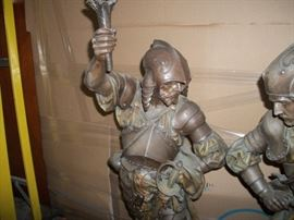 brass lamp Man in Armour with tourch