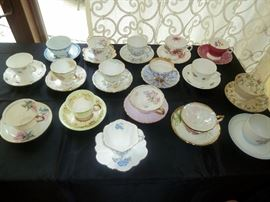 Teacup collection ...  England: Adderley, Shelley, Aynsley, Cauldon, Rosiana, Colclough, more. B&G-Germany, Arcadia-Germany, and others.