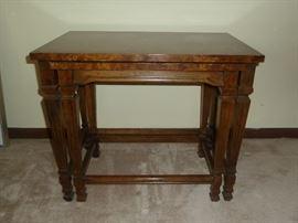 Pair of walnut nesting end tables by Drexel Heritage (bird's eye maple veneers).