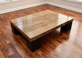 Large Contemporary Stone Top Cocktail / Coffee Table