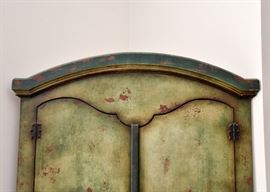 Distressed Finish Corner Armoire
