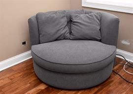 Curved Gray Lounge Chair