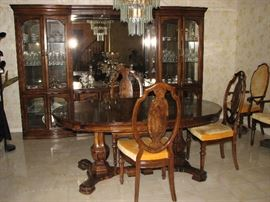 Inlaid dining room table and chairs