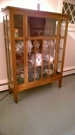 Antique Mission China Cabinet (Contents not for sale)
