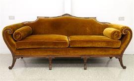 8.25 1930's Carved Mahogany sofa w/Mohair upholstery