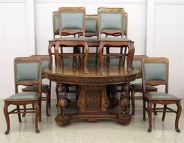 8.25 13 pc American Carved Oak dining set ca. 1910