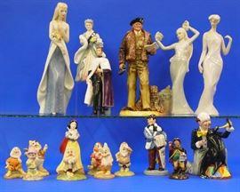 8.25 Royal Doulton figures, Snow White & 7 Dwarfs, Montgomery etc