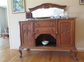 Beautiful antique marble topped Belgian Breakfast Sideboard...Beveled mirror topper removes for easy transport