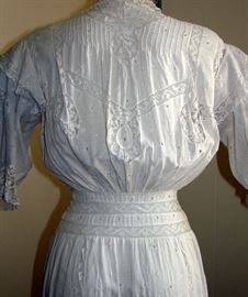 Stunning white lawn tea gown with eyelet lace and painstaking handwork.