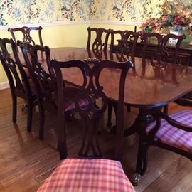 Century dining table with 8 chairs