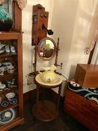 Victorian Washstand with Mirror, Bowl & Pitcher