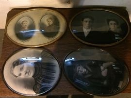 Antique Family Pictures in Oval Metal Frames and Curved Glass