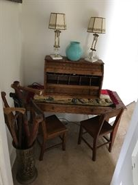 Antique oak child's double school desk & 2 chairs, rare Oak Rolltop Table Desk, Walking Sticks (canes) in Brass Container