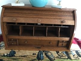 Antique Oak Tabletop Rolltop Desk with cubbies & drawers