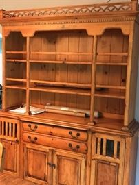 Oak china cabinet and welsch dresser. Lined drawers for cutlery and storage for crystal & china.