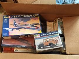 Vintage Revell model airplane kits, model car kits