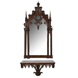 Figured Mahogany Gothic Revival Wood Mirror and Console