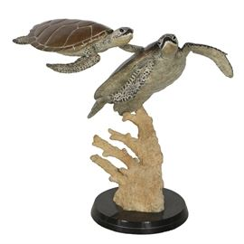 Robert Wyland Limited Edition Bronze Sculpture of Sea Turtles