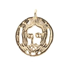14K Yellow Gold Pendant of Jesus A Gift From Evel Knievel