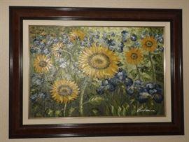 KDO009 Framed Original Sunflower Painting