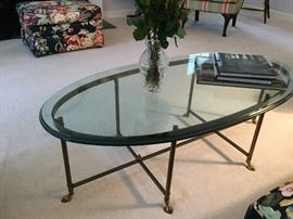 Glass Top Oval Cocktail Table w/Brass Frame and Feet