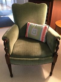 Vintage Arm Chair w/Newer Olive Upholstery