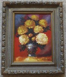 FVM001 Ornate Wood Frame Original Oil on Canvas Art Signed
