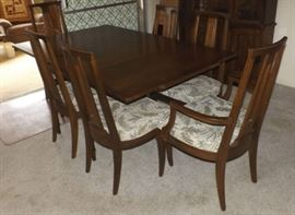 FVM005 Vintage Solid Wood Dining Table, Six Chairs, Pads