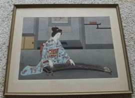 FVM007 Framed Wood Block Print Geisha and Koto