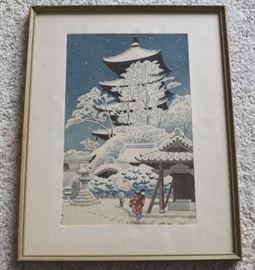 FVM008 Framed Wood Block Print Winter Castle Scene