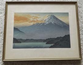 FVM009 Framed Wood Block Print Mount Fuji Scene