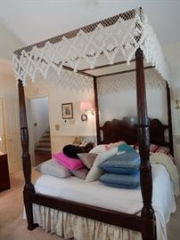 Reproduction Mahogany Charleston Rice Bed by Baker Furniture
