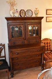Fabulous Walnut Gothic Style Antique Secretary