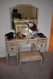 Painted Vanity and Stool