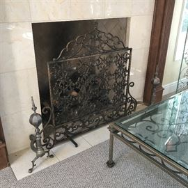 Fireplace screen SOLD  and andirons still available