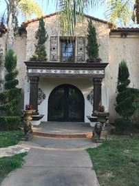 Massive Rancho Santa Fe Estate, Pots, Lions, Topiaries in pots