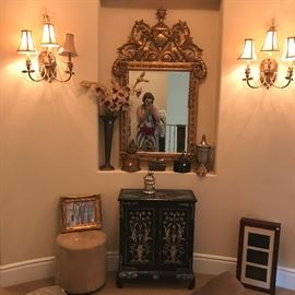 Gilt mirror french sold, sconces - must be licensed to remove!