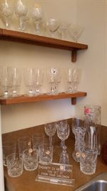 Other misc Waterford, cut crystal glasses and other items.