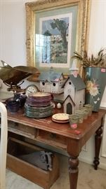 Antique pine desk. Wonderful old brass/iron general store scale. Painted tole and decorative birdhouses.