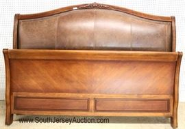Contemporary King Size Leather Padded Sleigh Style Bed  Located Inside – Auction Estimate $400-$800