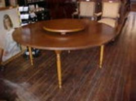 6' round pine lazy Susan table.