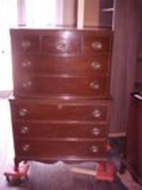 Mahogany tall chest to a 5 piece suite.