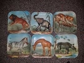 NAPCO Ceramics Vintage Decorative Animal Plates Set of six