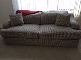 Modern black white zig zag design sofa bed . Custom, rarely used, fabulous condition $300