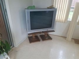 Two side tables, Lg tube tv w/flatscreen and remote.