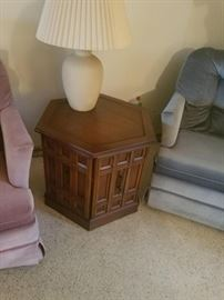 Living room side table, 2nd of 4 high quality lamps, 2 of 3 plush rocking chairs.