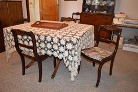 Mahogany drop leaf table w/6 chairs