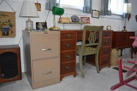 desk , file cabinet, chair