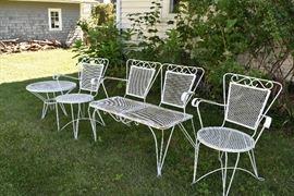 white metal patio set