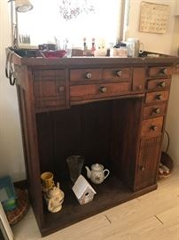 Owner was a watch maker/ repairman, this is his  watchmakers bench, made of English Walnut  Mid 1800's drawers full of watch repair material cabinet 42t x 40 wx 18.5 deep